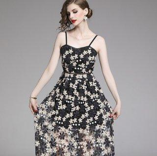 大人ガーリーなモノトーンフラワーレース♪ドレス キャミワンピース 大きいサイズあり