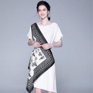大胆なスカーフデザインがステキ◇モノトーン 膝丈ワンピース 2色 大きいサイズあり