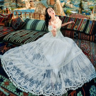 ウェディングドレスとしても♪贅沢レース オフショルダードレス ワンピース