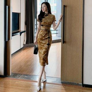 大人っぽいベルベットのチャイナドレス◇半袖 タイトワンピース