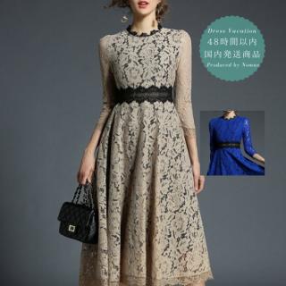 【即納】リゾートウェディングやディナーに シースルー袖の総レースミモレ丈ドレス