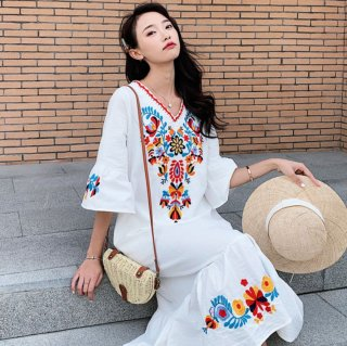 刺繍がかわいい♪ボヘミアンテイスト ロングワンピース 3色