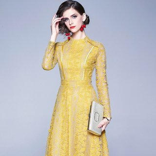 上品で繊細なレースデザイン◇長袖 フレアワンピース ドレス 2色 大きいサイズあり