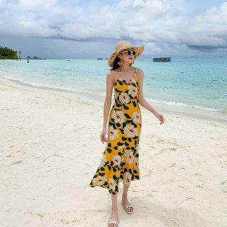 リゾートにぴったりな鮮やかプリント◇花柄 バッククロス キャミワンピース 2色