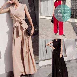 【即納】品良くこなれ感のあるスタイルに◇ウエストリボン パンツオールインワン 3色