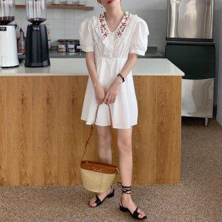 アンティーク風フラワー刺繍◇袖コン ブラウス ミニフレアワンピース