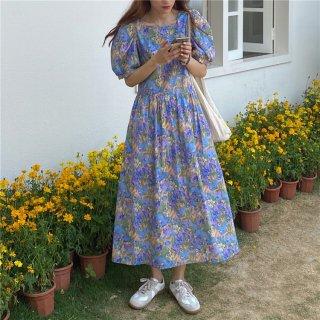 大人かわいい花柄ワンピ◇パフスリーブ ロングフレアワンピース