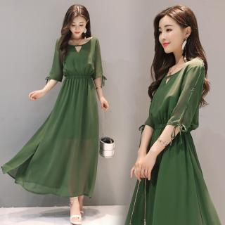 上品かわいいシフォンワンピ◇ロング ドレス 3色 大きいサイズあり