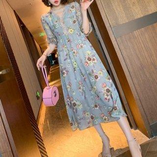 大人かわいい花柄ワンピ♪リゾート ドレス フレアワンピース 大きいサイズあり