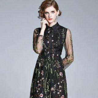 シースルー×ボタニカル刺繍がステキ♪シャツ フレアワンピース 大きいサイズあり