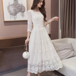 人気の海外デザイン 上品かわいい花柄レースのフレアロングワンピース ドレス