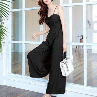 人気の海外デザイン アシメショルダーがおしゃれなワイドパンツのオールインワン パンツドレス 2色