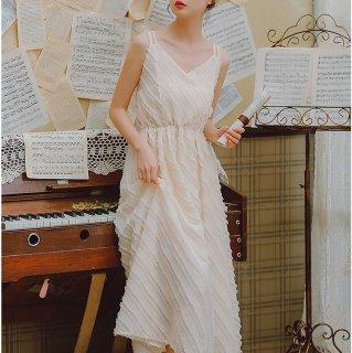 リゾートウエディングにもおすすめ 上品かわいいフリンジストライプのキャミソールワンピース ドレス