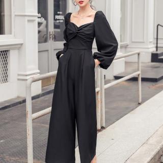 人気の海外デザイン エレガントなツイストギャザーの黒パンツドレス オールインワン