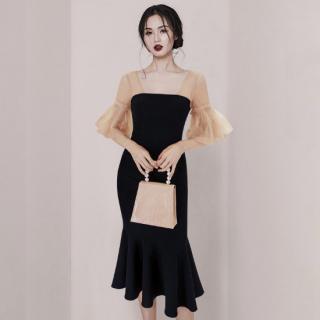 上品かわいいシフォンドッキング マーメードスカートのミディアムドレス ワンピース