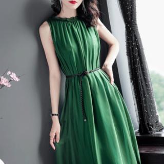 シンプルエレガントなギャザーシフォンのロング丈ノースリーブドレス ワンピース 2色