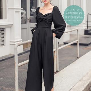 【即納】人気の海外デザイン エレガントなツイストギャザーの黒パンツドレス オールインワン