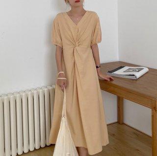 シンプルかわいいフロントマーク きれいめカジュアルな半袖ロングワンピース 3色