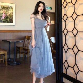 カラードレスにもおすすめ ラメ入りシフォンがかわいいカジュアルロングドレス ワンピース 2色