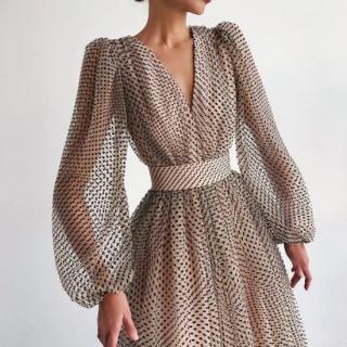 個性的でおしゃれな海外デザイン プチドットがかわいいバルーン袖のロングワンピース ドレス 3色