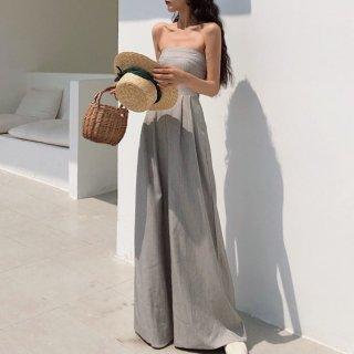 お呼ばれにもおすすめ エレガントなワイドパンツのベアトップオールインワン パンツドレス