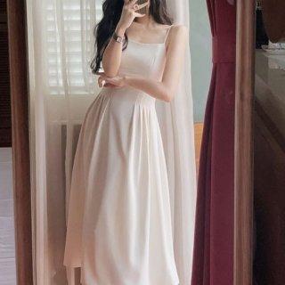 結婚式や二次会にも 美シルエットなギャザーフレアなロング丈キャミソールドレス 2色