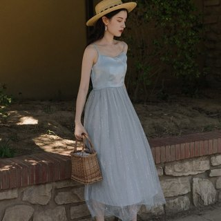 パールやラメで上品かわいい海外デザイン ふんわりシフォンのキャミソールロングドレス ワンピース