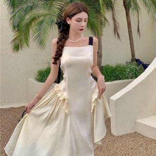 リゾートウエディングにもおすすめ 個性的でかわいいアシメデザインのバイカラードレス ワンピース