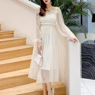 お呼ばれドレスにもおすすめ 上品かわいいギャザーシフォンのロング丈長袖ワンピース 2色