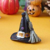 ハロウィンオブジェ 魔女の黒帽子&魔法のほうき