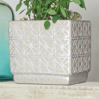 植木鉢 セメント製フラワーモザイク・レクトポット 約13.5cm四方