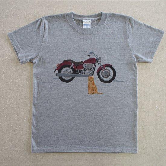 ステンシルT/オートバイ/杢グレー