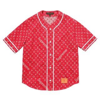 Supreme×Louis Vuitton Jacquard Denim Baseball Jersey《Red》