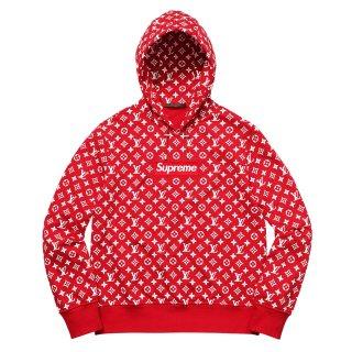 Supreme×Louis Vuitton Box Logo Hooded Sweatshirt《Red》