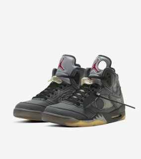 OFF-WHITE AIR JORDAN 5《Black/Muslin-Fire Red》