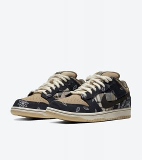 SB DUNK LOW PRM QS TRAVIS SCOTT《Black/Black-Parachute Beige-Petra Brown》