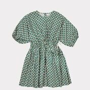 <img class='new_mark_img1' src='https://img.shop-pro.jp/img/new/icons20.gif' style='border:none;display:inline;margin:0px;padding:0px;width:auto;' /> CARAMEL  CYCLAMEN  DRESS  / emerald geo print .4y last one! 50%off