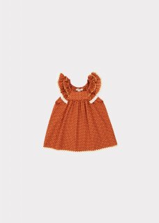<img class='new_mark_img1' src='https://img.shop-pro.jp/img/new/icons14.gif' style='border:none;display:inline;margin:0px;padding:0px;width:auto;' />CARAMEL  MULLOWAY BABY DRESS /  RUST DOT 12m 18m 2y