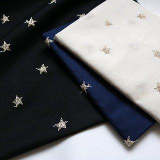 コットンローンランダム星柄ラメ刺繍生地