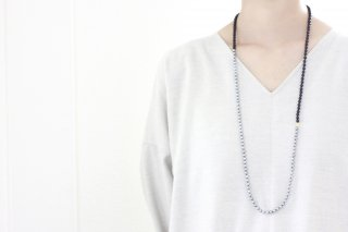 Onyx & gray pearl necklace