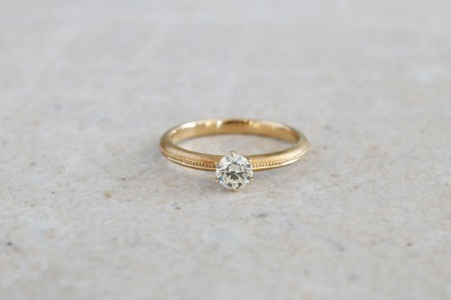 Milgrain ring + 0.3ct diamond / K18