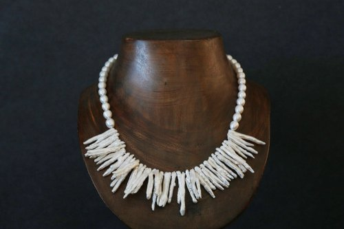 "Stick pearl necklace "" ホワイト"