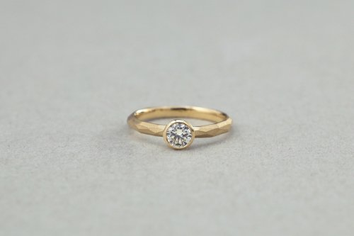 Rough cut ring + 0.3ct diamond / K18