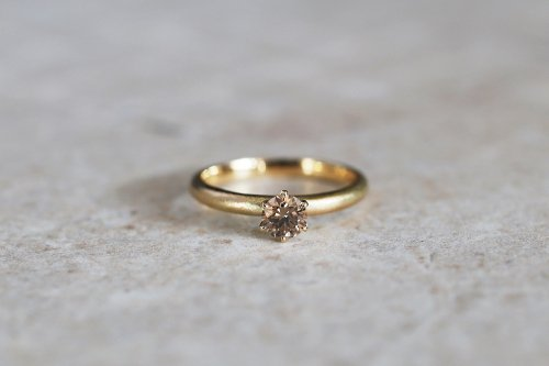 Norme ring + 0.302ct diamond ( cognac brown ) / K18