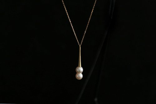 Raindrop akoya twins pearl long necklace