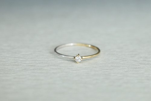 Half gold ring + diamond