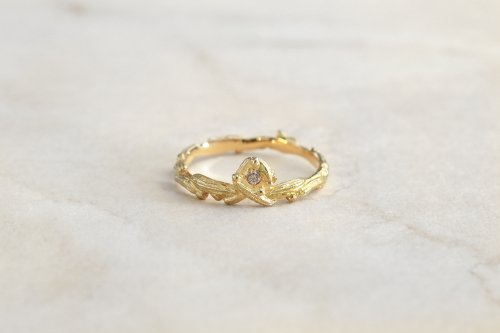 Meguru ring + diamond / K18YG