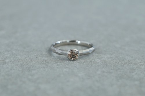Rough cut ring + 0.3ct diamond ( cognac brown ) / Pt900