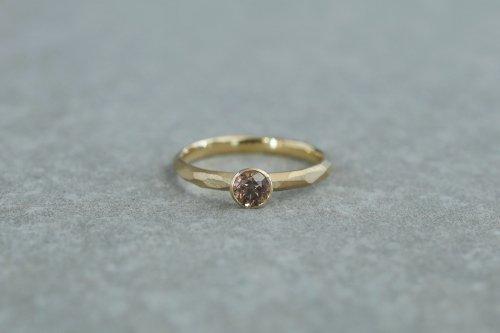 Rough cut ring + 0.35ct diamond ( cognac brown ) / K18