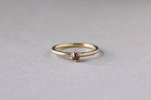 Norme ring + rosecut diamond ( red ) / K18